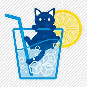 ソーダと猫 クリアステッカー