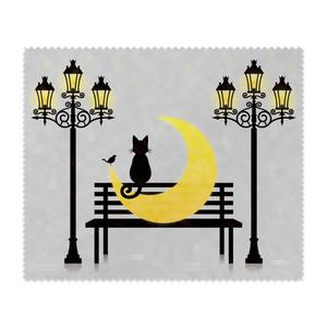 三日月と黒猫と街灯 メガネ拭き