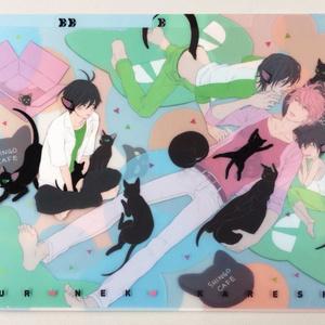 「クロネコ彼氏」3ポケットクリアファイル〈真悟カフェ〉
