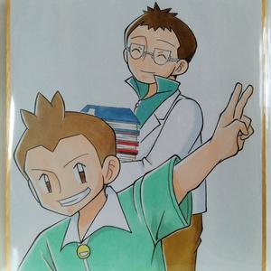 ミニ色紙(ジュンイチ&ウツギ博士)