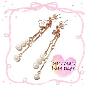 【刀剣乱舞イメージ】小桜の淡水パールピアス