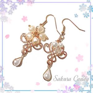 桜のパールシャンデリアピアス