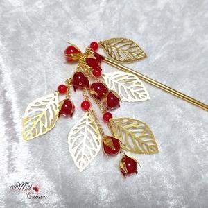 赤い実とリーフのかんざし ゴールドカラー