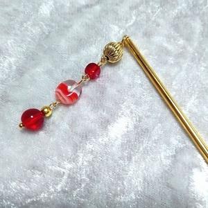 チェコガラスの簪とイヤリングセット 赤・紫 ゴールドカラー