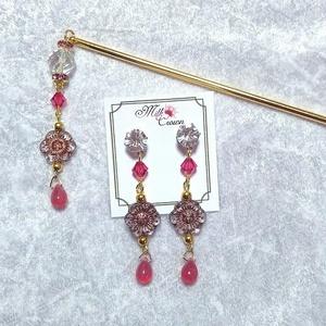 チェコフラワーの簪とピアスのセット ピンク・グリーン ゴールドカラー