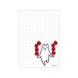 方眼ミニメモ りんごとしろくま (あんしんBOOTHパック(匿名)で自宅から発送【ネコポス370円】)