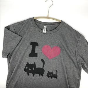 <速乾ドライ>I LOVE 黒ネコTシャツ【ミックスグレー】(あんしんBOOTHパック(匿名)で自宅から発送【ネコポス365円】)