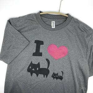 <速乾ドライ>【ミックスグレー】I LOVE 黒ネコTシャツ(あんしんBOOTHパック(匿名)で自宅から発送【ネコポス365円】)