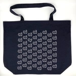 ネコいっぱい キャンバストートバッグ<ネイビー>【Lサイズ】(あんしんBOOTHパック(匿名)で自宅から発送【ネコポス370円】)