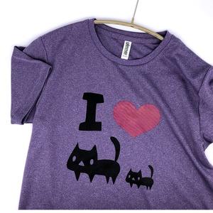 <速乾ドライ>I LOVE 黒ネコTシャツ【ミックスパープル】(あんしんBOOTHパック(匿名)で自宅から発送【ネコポス365円】)