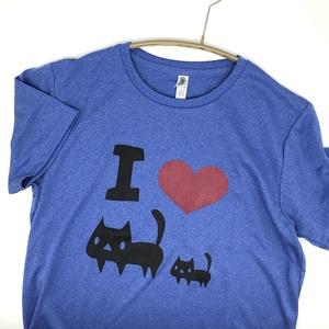 <速乾ドライ>【WLサイズ】I LOVE 黒ネコTシャツ【ミックスブルー】(あんしんBOOTHパック(匿名)で自宅から発送【ネコポス365円】)