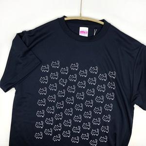 <速乾ドライ&シルキータッチ>【Sサイズ】ネコいっぱいTシャツ【ネイビー】(あんしんBOOTHパック(匿名)で自宅から発送【ネコポス365円】)