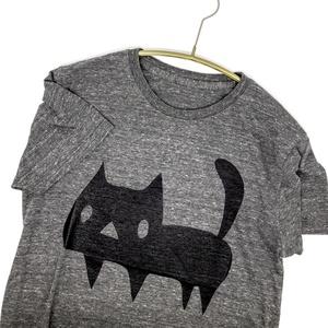 <トライブレンド>【グレー】でっかい黒ネコTシャツ【メンズSサイズ】(あんしんBOOTHパック(匿名)で自宅から発送【ネコポス365円】)