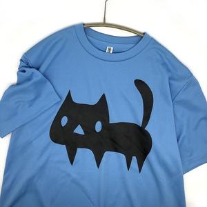 <速乾ドライ>【メンズM サックス】でっかい黒ネコTシャツ(あんしんBOOTHパック(匿名)で自宅から発送【送料一律370円】)