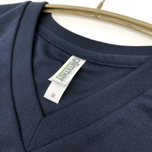 <Vネック/速乾ドライ>よく見ると黒ネコTシャツ【ネイビー】【メンズMサイズ】(あんしんBOOTHパック(匿名)で自宅から発送【ネコポス365円】)