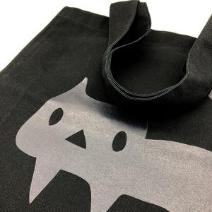 【ブラック】BIGスクエアトートバッグ よく見ると黒ネコ (あんしんBOOTHパック(匿名)で自宅から発送【送料370円】)
