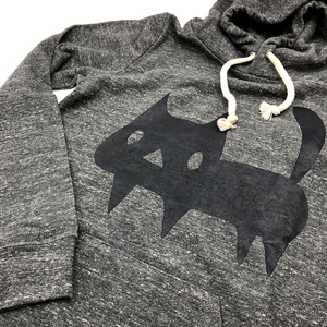 【グレー XSサイズ】でっかい黒ネコ パーカー(あんしんBOOTHパック(匿名)で自宅から発送【送料370円】)