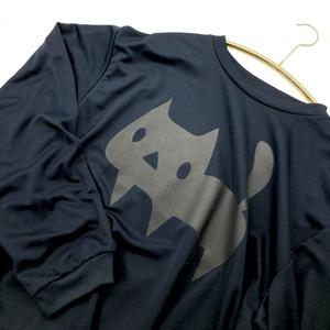 【速乾ドライ/ネイビー/メンズLLサイズ】長袖Tシャツ よく見るとでっかい黒ネコ(あんしんBOOTHパック(匿名)で自宅から発送【ネコポス370円】)