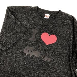 ★メンズXLサイズ★【ヘザーブラック】よく見ると I LOVE黒ネコTシャツ(あんしんBOOTHパック(匿名)で自宅から発送【送料一律370円】)