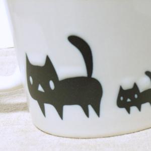 黒ネコ親子マグカップ(あんしんBOOTHパック(匿名)で自宅から発送【送料一律370円】)