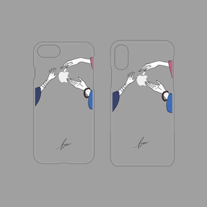 ゆび先シリーズiPhone7/8・iPhoneX/XSケース▽クリアベース(左文字派)