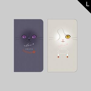 にゃんこフェイスシリーズ(粟田口)・Lサイズ手帳型ケース