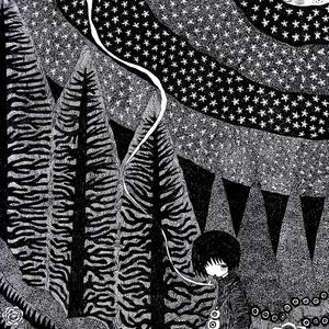 夜の散歩(ペン画)