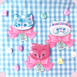 Crazy Cat Badge(HAPPY /cake factory bear/motivation cat)