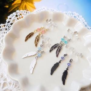 小さな羽根とクリスタライズのドール用ノンホールピアス