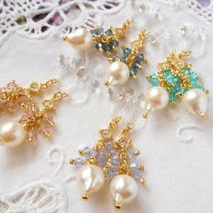 アコヤ真珠とクリスタライズのしゃらんらドール用ノンホールピアス