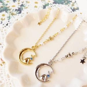 月と青星と猫のドール用ネックレス