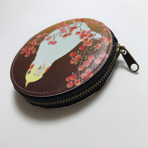 オカメインコ レザーコインケース<秋南天>