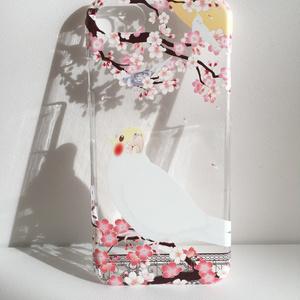 【にゃお様オーダー品】オカメインコ クリアケース/iPhone6sPlus【花桜】