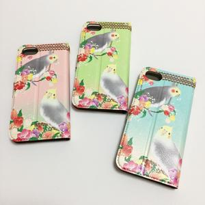 【iPhone8/8Plus対応】オカメインコinお花畑!  手帳型iPhoneケース