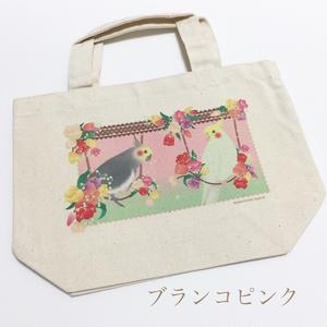 【新作】オカメインコinお花畑!  トートバッグSサイズ
