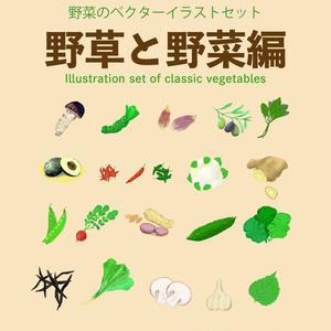 野菜のベクターイラストセット全19種 - 野草と野菜編
