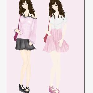 ゆるふわ・ロマンス系のファッションイラスト