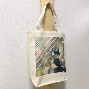 【おまけ缶バッジつき】オリジナルアートプリント B4キャンバストートバッグ