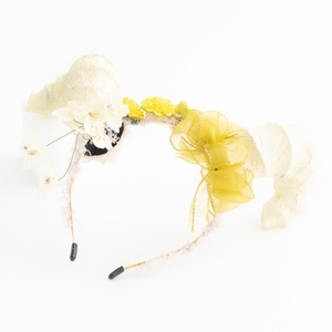 角カチューシャ 花 リボン