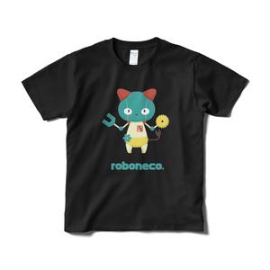 ロボねこちゃんのTシャツ。(黒)