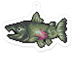 【雄逆生】 鮭 ドット絵キーホルダー