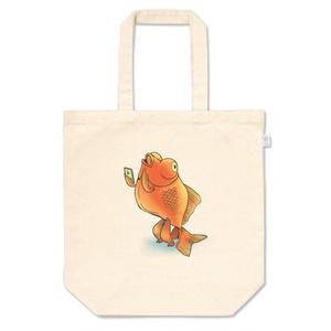 スマホを使いこなす二足歩行金魚トートバッグ