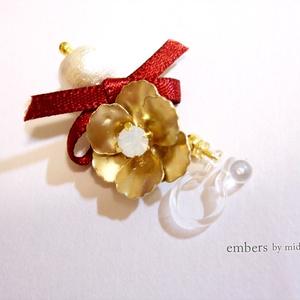 【Collar×Malice】アネモネとリボンのノンホールピアス