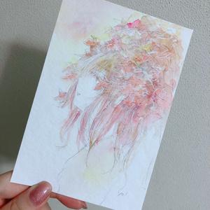 水彩原画 紅葉