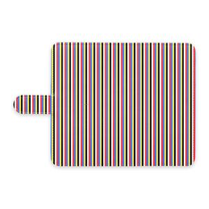 五色Androidケース(手帳型)(ストライプ細)