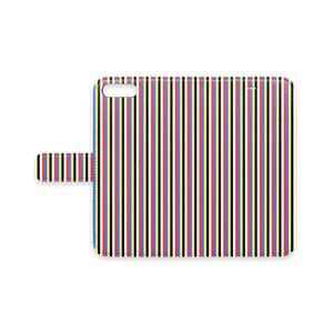 五色iPhoneケース(手帳型)(ストライプ細)