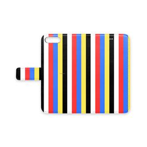 五色iPhoneケース(手帳型)(ストライプ)