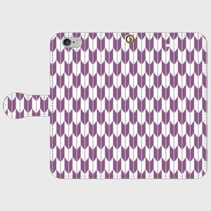 矢絣文様の手帳型スマホケース 紫色/ iPhone Android 各機種対応
