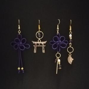 【鳥居or日本刀選択可】和風アシンメトリーピアスセット(紫)