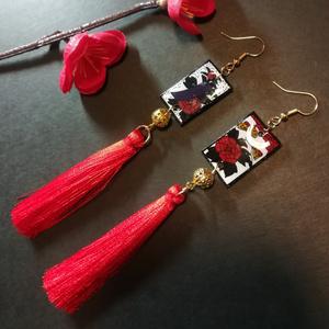 花札&タッセルピアス(牡丹)
